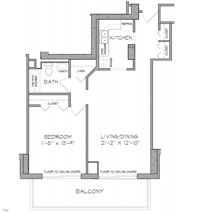 L Shaped Living Room Dining Room Furniture Layout: One Bedroom L